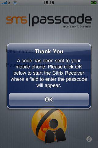 SMS PASSCODE for Citrix Reciever for Ipad - Poppelgaard com